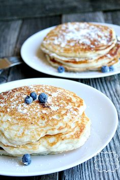 """buttermilk"" blueberry pancakes made with Greek yogurt"