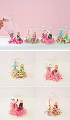 Recycled Plastic Cup Peg Doll Snow Globe Ornament. Cute kid-made DIY ornament to make and gift!