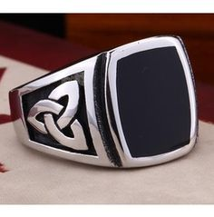 Stainless Steel Silver Color Celtic Knot Black Surface Ring