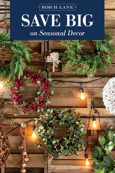 "The best way to ring in the season? With a wintry wreath—now on sale! Holly and evergreen are in full force, along with styles that take a more ""over the river, and through the woods"" approach. Find your favorite at Birchlane.com, and sign up to receive updates about our latest sales and newest arrivals, including more like this."