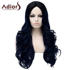 Fluffy Wavy Long Synthetic Fashion Black Ombre Dark Blue Middle Part Adiors Wig For Women #women, #men, #hats, #watches, #belts, #fashion, #style