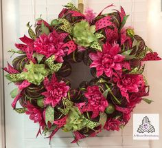 Spring Hot Pink/Lime Green Deco Mesh Wreath by AQuaintHaberdashery, $94.00