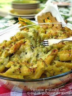 Pennette gratinate con crema di zucchine e robiola http://blog.giallozafferano.it/graficareincucina/pennette-gratinate-con-crema-di-zucchine-e-robiola/