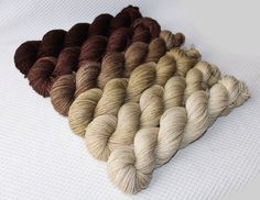 Gradient Yarn Set- Hand dyed Superwash  sock yarn  in Olea by WoolSilkLace on Etsy. Oh wow. What a sophisticated and classic colour set