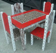 Cheetah Leopard ZEBRA Red Table and 2 Chair TABLE by spoiltrottn, $325.00