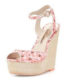 Lula+Dreamy+Flamingo+Wedge+Sandal,+Pink+by+Sophia+Webster+at+Neiman+Marcus.