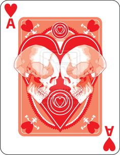Ace of Hurts: This is a sweet concept. Add helmets and some roller skates/legs. Leo Lion Tattoos, Custom Playing Cards, Ace Of Hearts, Card Tricks, Skull And Bones, Deck Of Cards, Skull Art, Cool Cards, Creative Cards