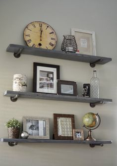 Loving What We Live: Photo Wall Display on DIY Restoration Hardware Shelves