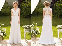 """Lookbook - front and back, sheath style wedding gown from Papilio """"Sole Mio"""" Bridal Collection - www.papilioboutique.ca"""