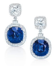 Cellini Jewelers - Sapphire and Diamond Earrings set in Platinum