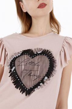T-shirt con maniche a farfalla e tulle - TOP E T-SHIRT - ABBIGLIAMENTO DONNA