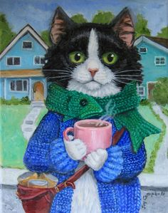 """Kitten is on his Way to Work with his Cup of hot Tea"" par Joy Campbell"