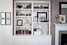 Built in styled bookshelf.