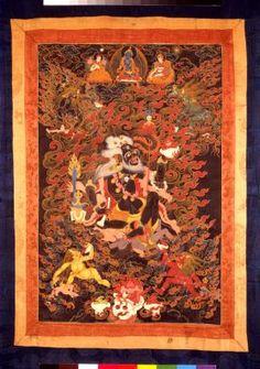 The Buddhist deity Mahakala as a Brahman, 1700-1800. Tibet, Ngor Evamchos-idan. Thangka; colors on cotton. The Avery Brundage Collection, B63D4.