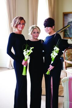 bridesmaids with black dress and lillies