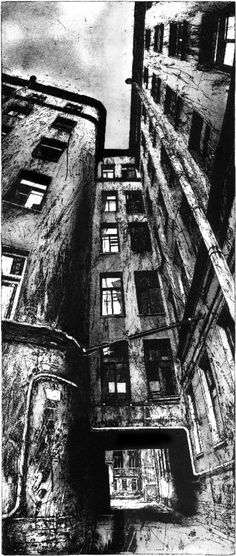 Familiar Place Perfect combination of suffocating architecture and enticing rabbit hole! Gothic style is good too -- Familiar Place by Michael Goro - etching/engraving Look Dark, Etching Prints, Perspective Art, Sense Of Place, A Level Art, Architectural Features, Wood Engraving, Urban Landscape, Oeuvre D'art