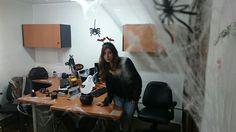 Decoración halloween oficina Desk, Furniture, Home Decor, Halloween Prop, Decorations, Food Cakes, Writing Table, Desktop, Decoration Home