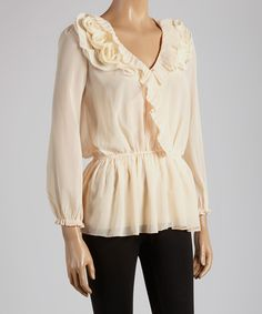 Look at this Light Pink Rosette Surplice Top on #zulily today!