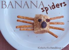 Make banana spiders - a healthy creepy snack for kids.