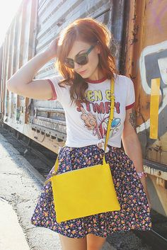 Vintage tee and patterned skirt. Weekly Wears by Skunkboy Creatures.