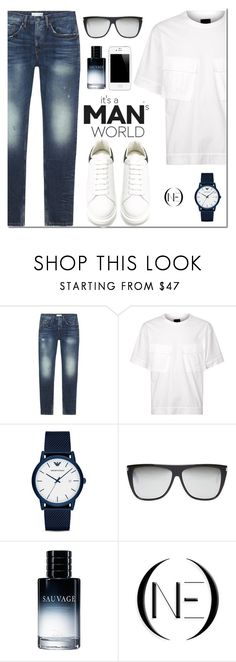 """ONE DENIM"" by mada-malureanu ❤ liked on Polyvore featuring Juun.j, Emporio Armani, Yves Saint Laurent, Christian Dior, Alexander McQueen, vintage, men's fashion, menswear, SpringStyle and embroideredjeans"