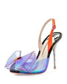 Sophia Webster   Leah Iridescent Bow Sandal Violet Neon Flamingo