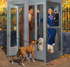 Arthur Sarnoff:  A man, a woman, and a poodle in a phone booth