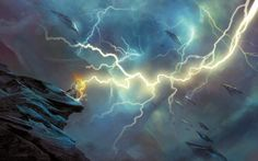 Artist Re-Imagines Scenes From The Mahabharata As A Techno Fantasy And The Result Is Stunning Photo Wallpaper, Wallpaper Backgrounds, Fantasy Landscape, Fantasy Art, Aura Colors, The Mahabharata, Dragon Pictures, Dragon Pics, Thunder And Lightning
