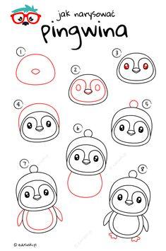Jak Narysować Pingwina - Instrukcja Krok Po Kroku #jakrysowac #edusiaki #naukarysowania #rysowaniedladzieci #diydladzieci Rock Painting Ideas Easy, Cartoon Faces, Painted Rocks, Art Drawings, Bullet, Color, Draw, Easy Drawings, Cuba