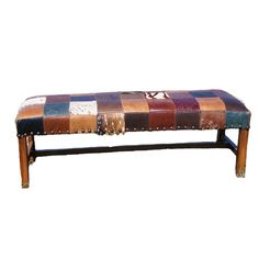 A patchwork bench of hand selected leathers.  This bench will work in any room as an accent.  At the foot of the bed, under a table for extra seating, against a window.  Custom sizes available.