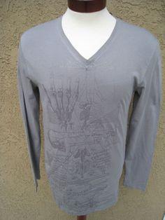 AFFLICTION Black Premium Long Sleeve Shirt M Grey Skull Skelleton V-neck NWT