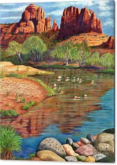 Red Rocks Acrylic Print featuring the drawing Red Rock Crossing-sedona by Marilyn Smith Landscape Drawings, Landscape Art, Landscape Paintings, Landscapes, Western Landscape, Nature Paintings, Landscaping With Rocks, Landscaping Ideas, Hill Landscaping