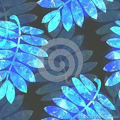 Hand drawn watercolor luminous blue rowan leaves on dark background. Fantasy seamless pattern.
