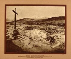 """""""Mount Rubidoux, Riverside."""" This is an original hand-tipped sepia print, from 1911, of a photograph by A. Putnam of the famed Mount Rubidoux in Riverside, CA. Period Paper has obtained an attractive"""