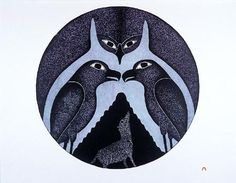 Kenojuak Ashevak. Owl's Embrace 1995