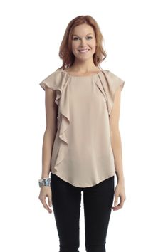 One Sided Ruffled Flowy Blouse. I have a shirt like this in grey and love it! Comfy and flattering after having a baby. :)