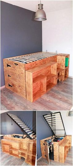 It would always look useful and modish as you would be adding the bed designing of the wood pallet with the storage space in its bottom areas. As you would clearly view the image, the bed framing side portions are being comprised with the shelving unit portions as well.