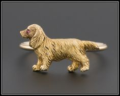 Setter Dog Ring, 14k Gold, Garnet Eye, Irish or English Setter