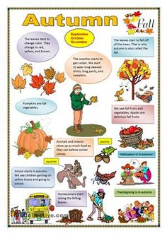 Autumn - English ESL Worksheets for distance learning and physical classrooms English Classroom Posters, English Posters, Fall Preschool Activities, English Activities, Animals Name In English, Seasons Worksheets, Fall Arts And Crafts, Kindergarten Songs, Teaching Jobs