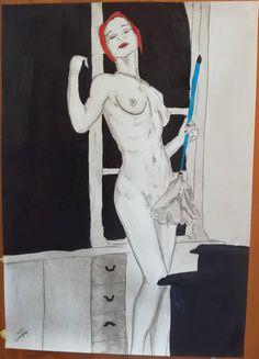 "dessin erotique nu original  de g.vanspey erotic nude drawing painting ""Poussieres"" fine art de la boutique vanspeygalleryart sur Etsy"