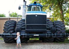 Blue Sky Photographs - farm family, overalls, New Holland tractor, cutie