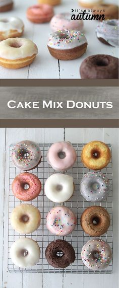 Holy cow! These Quick and Easy Baked Cake Mix Donuts are perfect for a party or gift! They're so pretty and a clever change from standard cupcakes.