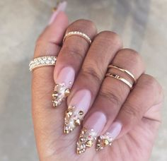 Pink nails with Gold bling ❤️