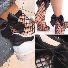 Fishnet bow socks