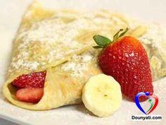 دنيتي | المطبخ | طريقة تحضير عجينة الكريب بالشوكولا و القشطة مع الموز و الفرولة من مطبخ دنيتي