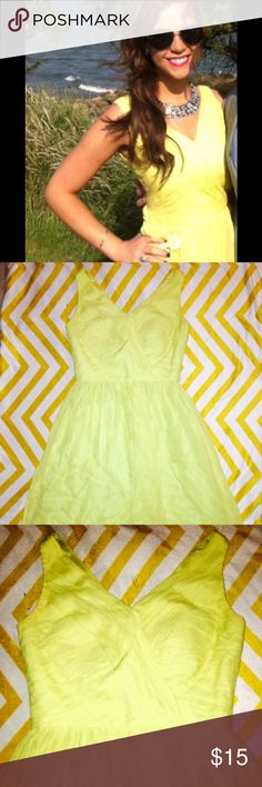 🌼🌼silk Lemon Cocktail Dress Gorgeous dress from Nordstrom. Top is fitted silk-crepe like fabric with textured V/neck. Slight flare at waist. Tea length, fully lined with 100% silk liner. Beautiful lemon-chartreuse color. V/back with hidden zipper. Worn twice, in good condition with some minor pulling on skirt shown in pictures. Under arm area has bronzer stains, which could easily be removed at dry cleaners. Paid almost $100 new. Perfect for weddings, bridal showers, date night.  Size 0…