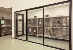 This is one of two isolation rooms in the hospital, both of which are located in treatment. One is used for infectious disease control and is located out of the high-traffic zone. The other is for noise control. Access through sliding glass doors provides easy patient monitoring. Each isolation room is designed to maintain negative air pressure with 100% air exhausted outside.