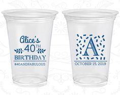 40th Birthday Soft Sided Cups, 40 and Fabulous, Monogram Birthday, Disposable Birthday Cups (20258)