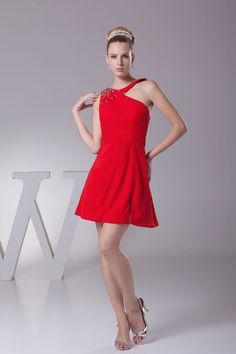 Flirtatious Red Short Jewel A-Line Chiffon Sleeveless Cocktail Dress