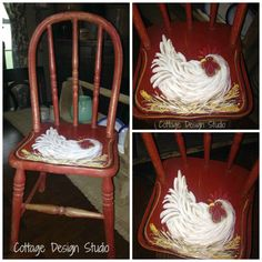 farmhouse rooster chair child's chair by CottageDesignStudio